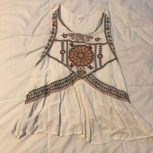 White embroidery tank